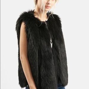 Topshop 'Leah' Faux Fur Black Vest Sz 6